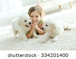 portrait of happy little girl... | Shutterstock . vector #334201400