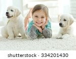 portrait of happy little girl... | Shutterstock . vector #334201430