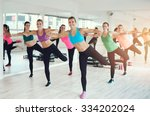 Small photo of Large colorful group of fit young women working out in a gym doing aerobics exercises in a health and fitness concept
