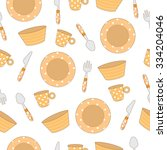 seamless pattern of tableware... | Shutterstock .eps vector #334204046