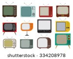 retro tv vector icons set