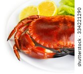 Red Tasty Boiled Crab With...