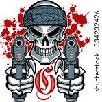gangster skull with bandana and ... | Shutterstock .eps vector #334232426