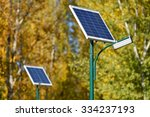 Solar Street Lamp In A Park In...