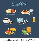 set of classic breakfast with... | Shutterstock .eps vector #334254938