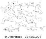 set of sharks hand drawn | Shutterstock . vector #334261079