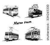 set of vintage trams. retro... | Shutterstock .eps vector #334265330