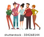 group of five happy talking... | Shutterstock .eps vector #334268144
