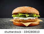Fresh Chicken Burger On Dark...
