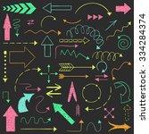 doodle set of arrows. hand... | Shutterstock .eps vector #334284374