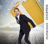 stylish man with giant gift... | Shutterstock . vector #334289846