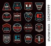 set of sports badges. soccer ... | Shutterstock .eps vector #334295999