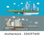 big city and factory. vector... | Shutterstock .eps vector #334297640