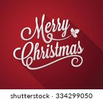 merry christmas on a red... | Shutterstock .eps vector #334299050