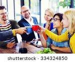 group of people cheers coffee... | Shutterstock . vector #334324850