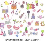 cute music elements set   Shutterstock .eps vector #33432844