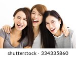 closeup happy young women faces ... | Shutterstock . vector #334335860