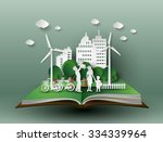 concept of eco with family... | Shutterstock .eps vector #334339964