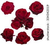 Stock photo collage of red roses isolated on white background 334342019