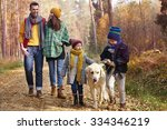 Stock photo walking with all family in autumn season 334346219