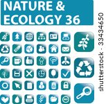 36 glossy nature buttons. vector   Shutterstock .eps vector #33434650