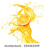 orange juice splashing with its ... | Shutterstock . vector #334363349