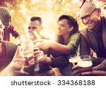 diverse people friends hanging... | Shutterstock . vector #334368188