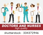 group of doctors and nurses set ... | Shutterstock .eps vector #334372946