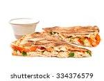 sliced quesadilla on white... | Shutterstock . vector #334376579