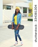 pretty cool young african woman ...   Shutterstock . vector #334381304