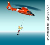 red rescue helicopter and...   Shutterstock .eps vector #334397774