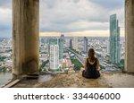 young women meditates in yoga... | Shutterstock . vector #334406000