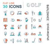 set vector line icons game golf ... | Shutterstock .eps vector #334407698