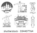 set of skateboarding logo ...
