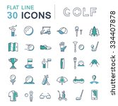 set vector line icons game golf ... | Shutterstock .eps vector #334407878