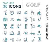 set vector line icons game golf ... | Shutterstock .eps vector #334407878