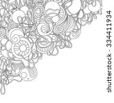 zentangle style invitation card.... | Shutterstock .eps vector #334411934