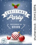 christmas party retro poster | Shutterstock .eps vector #334413896