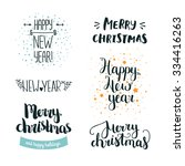 set of hand drawn merry... | Shutterstock .eps vector #334416263