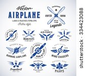 vintage vector airplane labels... | Shutterstock .eps vector #334423088
