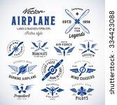 vintage vector airplane labels... | Shutterstock .eps vector #334423088