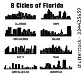 8 city silhouette in florida  ... | Shutterstock .eps vector #334425659