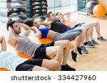 fitness class exercising in the ... | Shutterstock . vector #334427960