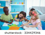 happy kids enjoying arts and... | Shutterstock . vector #334429346