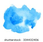 blue watercolor hand drawn... | Shutterstock .eps vector #334432406