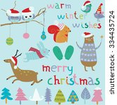 christmas set with cute funny... | Shutterstock .eps vector #334435724