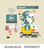 set of flat design illustration ... | Shutterstock .eps vector #334438319