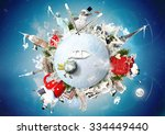 christmas and new year  winter... | Shutterstock . vector #334449440