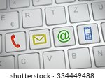 colored contact us icons on a... | Shutterstock . vector #334449488