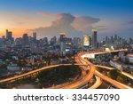 sunset of cityscape with... | Shutterstock . vector #334457090